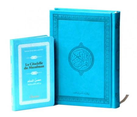 Pack Cadeau Bleu Turquoise : Le Saint Coran version arabe (Lecture Hafs) + La Citadelle du Musulman (fr/ar/ph)