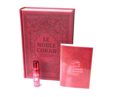 Pack Cadeau Bordeaux : Le Noble Coran Rainbow (Arc-en-ciel) Bilingue français/arabe, La Citadelle du Musulman et parfum pour femmes