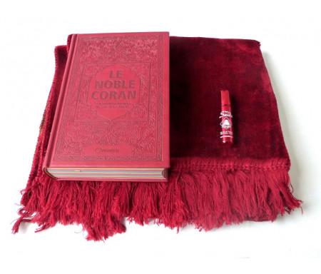 """Pack Cadeau bordeaux assorti : Le Noble Coran Arc-en-ciel (Rainbow français-arabe) avec tapis uni et parfum Musc d'Or de luxe """"Saida"""""""