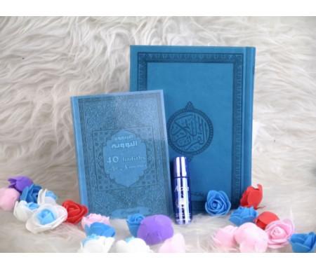Pack Cadeau Couleur Bleu (Coran - Les 40 hadiths an-Nawawî - Parfum - Sac cadeau)