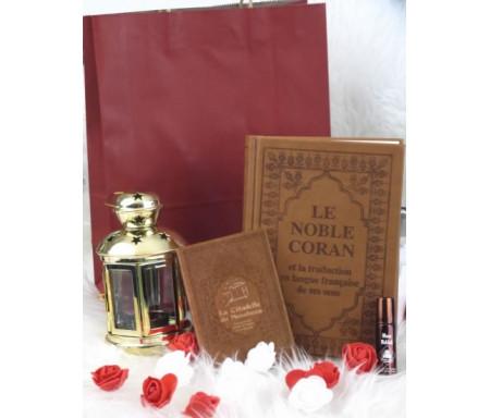 Pack Cadeau Couleur marron (Coran - Citadelle - Parfum - Lanterne métallique - Sac cadeau)