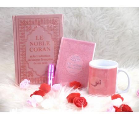 Pack Cadeau Couleur rose clair (Coran - 40 hadiths - Parfum - mug)