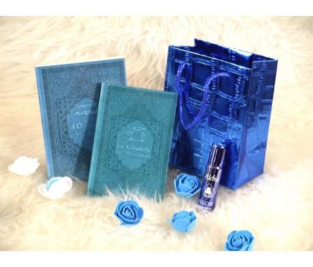 Pack cadeau de couleur bleue avec 2 livres : Les 40 hadiths & La Citadelle du musulman (bilingues français/arabe) - Parfum deluxe - Sac cadeau