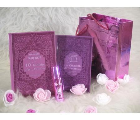 Pack cadeau de couleur mauve avec 2 livres : Les 40 hadiths & La Citadelle du musulman (bilingues français/arabe) - Parfum deluxe - Sac cadeau