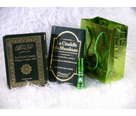 Pack cadeau de couleur vert : Le Saint Coran & La Citadelle du musulman (bilingues français/arabe) - Parfum deluxe - Sac brillant