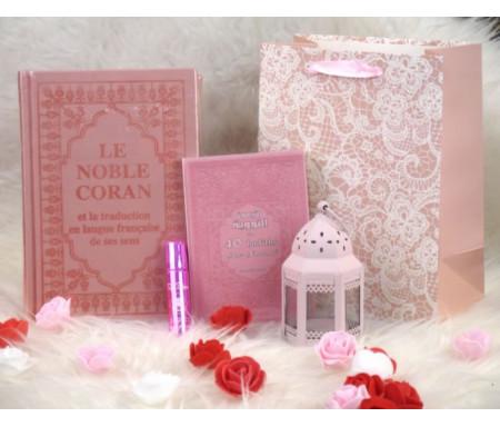 Pack Cadeau de Luxe Couleur Rose Clair (Le Noble Coran et les 40 hadiths bilingues - Parfum - Lanterne - Sac cadeau)