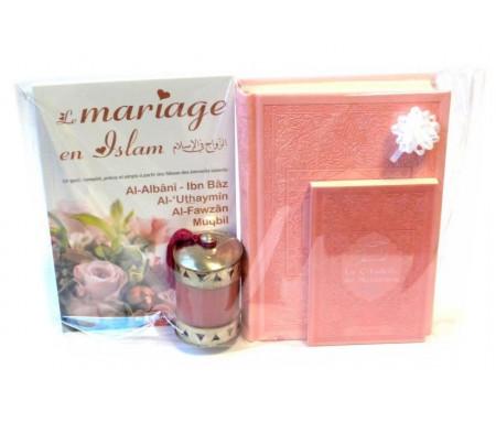 """Pack Cadeau Halal rose pour femmes : Livre """"Le mariage en Islam"""" + Le Saint Coran (français/arabe/phonétique) + La Citadelle du musulman + Bougie"""