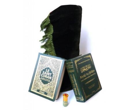 Pack cadeau hommes : Le Saint Coran (arabe-français-phonétique) + Riyâd As-Sâlihîne + Parfum musk Makkah (3ml) + Tapis de prière couleur unie verte