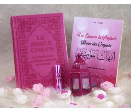 Pack Cadeau Luxe Couleur rose (Coran Bilingue - Les épouses du Prophète - Parfum - Lanterne)