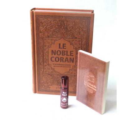 Pack Cadeau Marron : Le Noble Coran Rainbow (Arc-en-ciel) Bilingue français/arabe, La Citadelle du Musulman et parfum Musc Makkah pour hommes