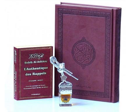 """Pack Cadeau Marron : Le Saint Coran de luxe (en arabe) + Sahîh Al-Adhkâr """"Le rappel authentique"""" (Bilingue) + Diffuseur de parfum pour voiture"""