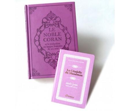 Pack cadeau mauve : Le Noble Coran (bilingue français/arabe) + La Citadelle du Musulman assortie