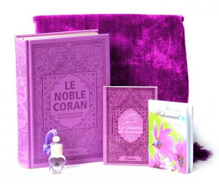 Pack Cadeau Mauve : Le Noble Coran avec couleurs Arc-en-ciel (Rainbow), La Citadelle du Musulman, Le Prophète Muhammad (SAW) et la femme, Tapis uni en velours, Diffuseur de parfum (assortis)