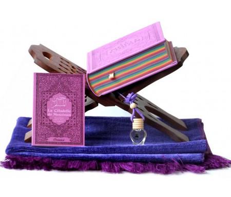 Pack Cadeau Mauve : Le Noble Coran avec pages en couleur Arc-en-ciel (Rainbow), La Citadelle du Musulman, Tapis en velours, Porte Coran et Diffuseur de parfum