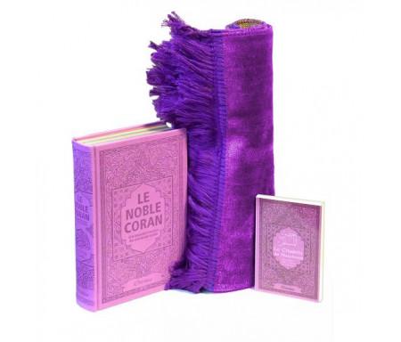 Pack Cadeau Mauve : Le Noble Coran Rainbow (Arc-en-ciel) Bilingue français/arabe, La Citadelle du Musulman et Tapis en velours assorti