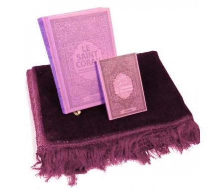 Pack cadeau mauve : Le Saint Coran (français/arabe/phonétique) + La Citadelle du musulman (Hisnul Muslim) + Tapis de prière en velours