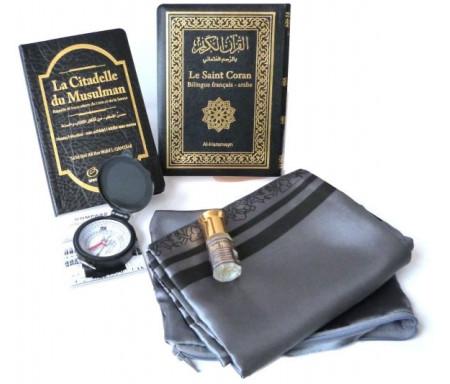 Pack Cadeau Noir : Le Saint Coran Bilingue (arabe-français) + La Citadelle du musulman + Tapis de prière de poche + Parfum Pure Musk