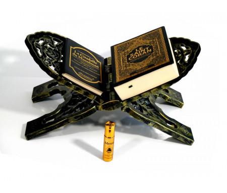 Pack Cadeau Noir Doré : Le Saint Coran (français-arabe-phonétique), La Citadelle du musulman, Porte Coran, Parfum de luxe