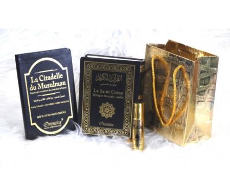 Pack cadeau noir doré avec livres : Le Saint Coran & La Citadelle du musulman (bilingues français/arabe) - Parfum deluxe Aladin & Sac doré