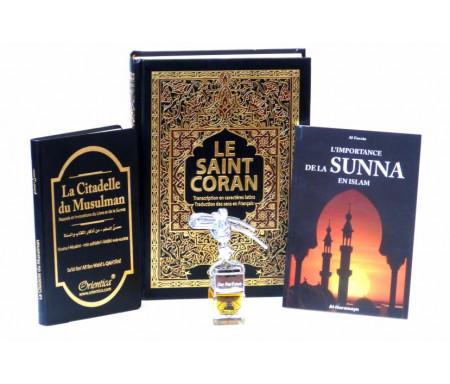 Pack Cadeau Noir pour hommes : Le Saint Coran et La Citadelle du musulman (français/arabe/phonétique) + Diffuseur de parfum + L'importance de la Sunna en Islam