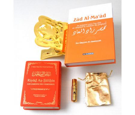 """Pack Cadeau Orange : Résumé de """"Zâd Al-ma'âd"""", """"La citadelle du musulman"""", Porte Coran doré, et parfum avec pochette dorée"""