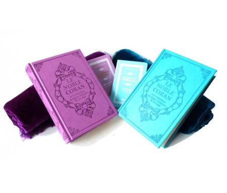 Pack Cadeau Pour couple : magnifique ensemble avec deux tapis, deux Coran et deux Citadelles (bleu et mauve)
