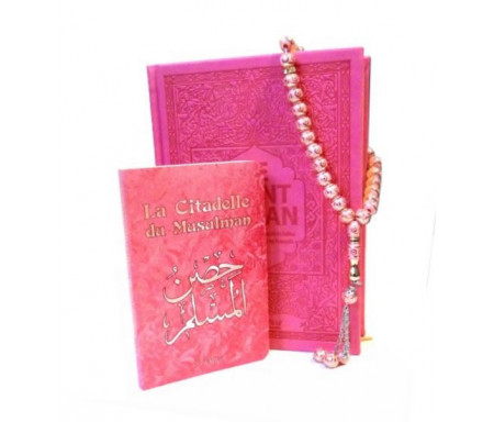 """Pack cadeau pour femme : Le Noble Coran et la traduction en langue française de ses sens (bilingue français/arabe) + La Citadelle du Musulman et Chapelet """"Sebha"""" de luxe rose pale assortis"""