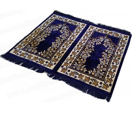 Tapis de prière Velours et confortable deux (2) places - Bleu
