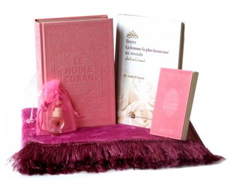 Pack Cadeau pour femmes (Rose Clair) : Tapis - Livres : Coran Rainbow Couleurs Arc en ciel - La Citadelle du Musulman - Livre pour femme