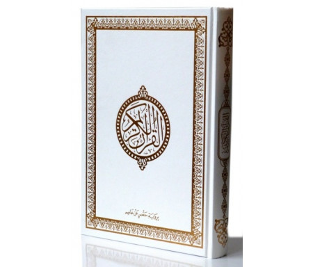 Le Saint Coran version arabe (Lecture Hafs) de luxe avec couverture Blanche (17 x 24 cm)