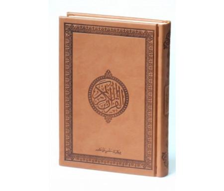 Le Saint Coran version arabe (Lecture Hafs) de luxe avec couverture en daim marron-camel