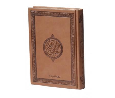 Le Saint Coran version arabe (Lecture Hafs) de luxe avec couverture en daim marron-chocolat