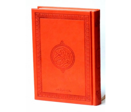 Le Saint Coran version arabe (Lecture Hafs) de luxe avec couverture en daim orange La compatibilité du lecteur d'écran est activée.