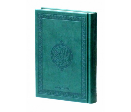 Le Saint Coran version arabe (Lecture Hafs) de luxe avec couverture en daim vert-foncé