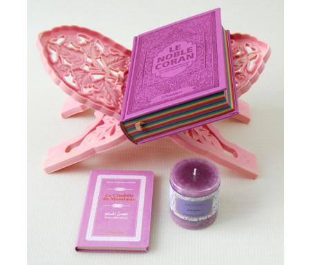 Pack Cadeau pour femmes : Coran Arc en ciel (Rainbow) français-arabe, La Citadelle du musulman, Porte-Coran et Bougie parfumée