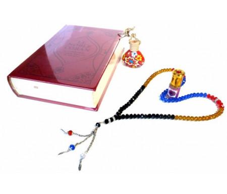 Pack cadeau pour femmes : Coran Daim luxe - Diffuseur de parfums - Parfum Musc d'Or féminin et chapelet perles de luxe