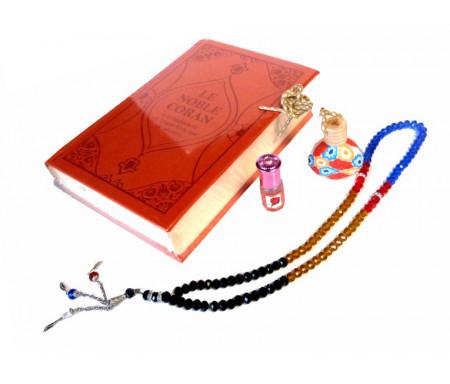 Pack cadeau pour femmes : Coran Daim luxe de couleur rouge bordeaux - Diffuseur de parfums - Parfum Musc d'Or et chapelet de luxe