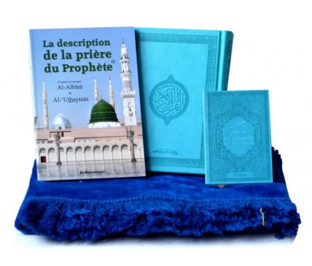 Pack Cadeau Prière Bleu : Le Saint Coran + La Citadelle du musulman + La description de la prière du prophète + Tapis assorti