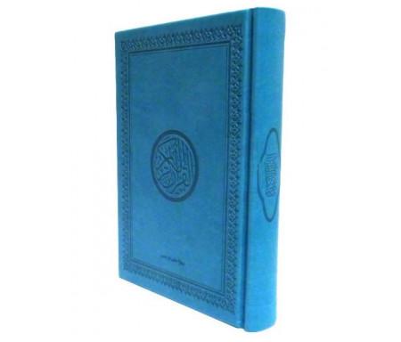 Le Saint Coran version arabe (Lecture Hafs) de luxe avec couverture en daim bleu-turquoise