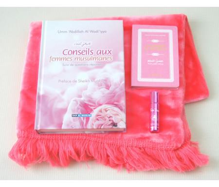 Pack Cadeau Rose : Conseils aux femmes musulmanes + La Citadelle du musulman + Tapis + Parfum de luxe