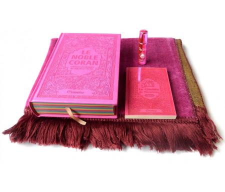 Pack Cadeau Rose : Le Noble Coran Rainbow (Arc-en-ciel) Bilingue français/arabe, La Citadelle du Musulman, Pardum Rose Bulgare et Tapis en velours assorti