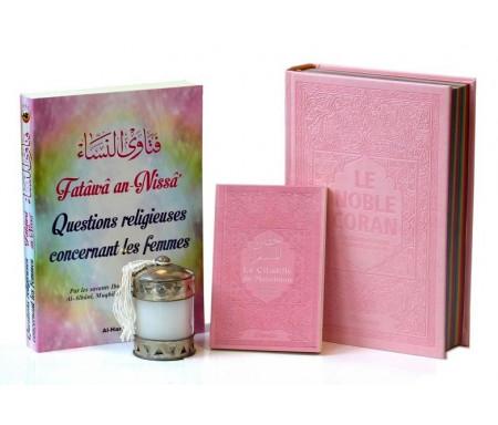 Pack Cadeau Rose pour Femmes : Coran Rainbow + La Citadelle + Livre : Fatâwâ an-Nissâ + Diffuseur de parfum ou Bougie (au choix)