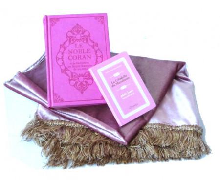 Pack cadeau rose pour femmes : Le Noble Coran (bilingue français/arabe) + La Citadelle du Musulman + Tapis de prière (roses)