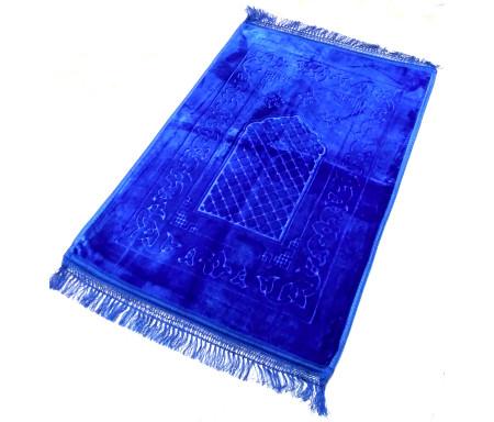 Grand tapis épais antidérapant avec motif Arabesque - Bleu