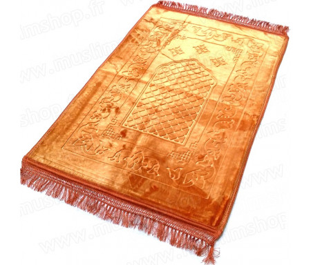 Grand tapis épais antidérapant avec motif Arabesque - Jaune orangé