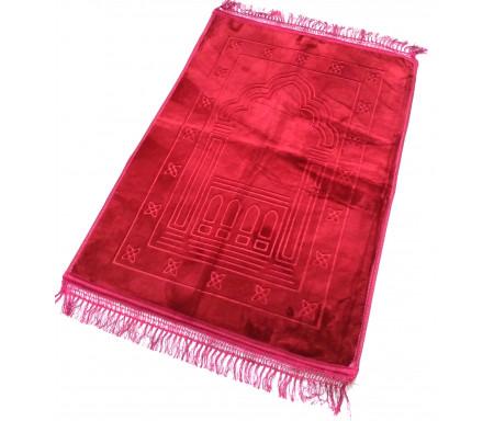 Grand tapis épais antidérapant avec motif Arabesque - Rouge