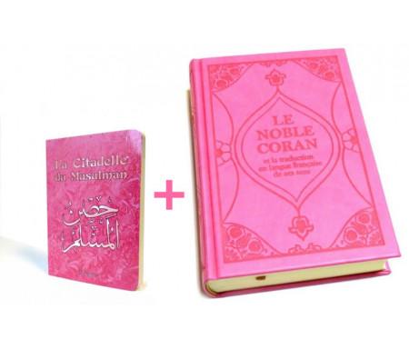 Pack cadeau rose pour femmes : Le Noble Coran + La Citadelle du Musulman