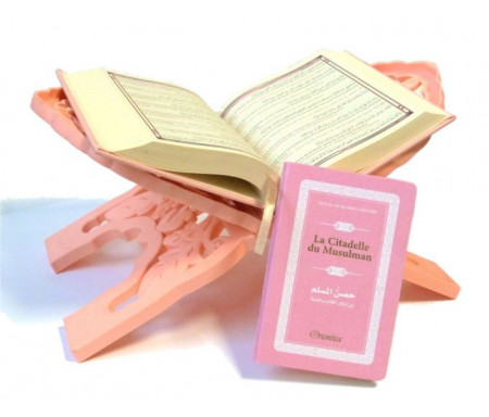Pack cadeau rose pour femmes : Le Saint Coran (français/arabe/phonétique) + La Citadelle du Musulman + Porte coran (assortis)