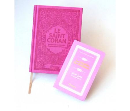 Pack cadeau rose pour femmes : Le Saint Coran couverture daim de luxe + La Citadelle du Musulman (tous deux en français-arabe-phonétique)