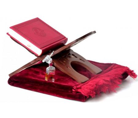 Pack Cadeau Rouge Bordeaux : Le Saint Coran version arabe, Tapis en velours et Porte Coran et Diffuseur de parfum